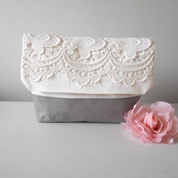 Lace make up bag, Envelope clutch, White canvas pouch, Large pouch, White lace clutch, Grey clutch purse, White cosmetic pouch
