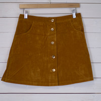 Flashback Button Up Suede Skirt