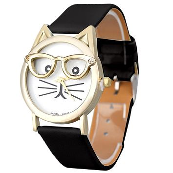 Cute Cat Glasses Leather Watch