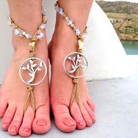 Barefoot sandals. beaded sandals, moonstone gemstones boho barefoot sandles, crochet barefoot sandals, , yoga, anklet hippie shoes