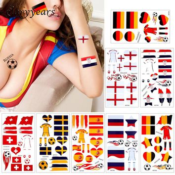 glaryyears 10 Pieces/lot 2018 World Cup Body Temporary Tattoo Sticker Football Game Sports Russia Countries Flags Tattoo Hot MOT
