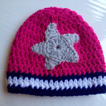 Crochet Dallas Cowboys Football Baby Beanie