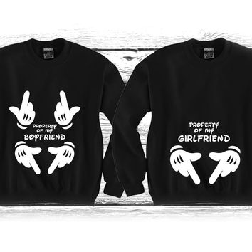 """Property Of My GF - Property Of My BF """"Cute Couples Matching Crewnecks"""""""