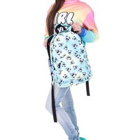 Emoji Panda Collage White Black & Sky Blue Tie Dye Backpack
