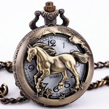 Bronze Horse Hollow Quartz Pocket Watches Necklace Pendant Full Hunter Carved Lid Steampunk Clock Women Men's Gifts +GIFT BOX