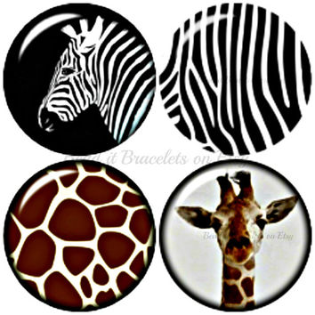 Zebra and Giraffe Safari series 4 x 20 mm snap charms to fit your Noosa and Gingersnap style jewelry.