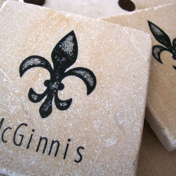 Fleur de Lis Personalized Coaster Saints Wedding Favor New Orleans Party Favor Absorbent Stone Tile