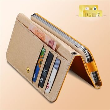 KISSCASE Universal Women Men Wallet Case Cover For iPhone 7 6 6S Plus 5S SE For Samsung Galaxy S6 Edge S5 S4 Leather Pouch Bags