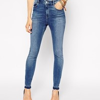 ASOS Ridley High Waist Ultra Skinny Ankle Grazer Jeans in Worker Wash