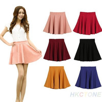 Women's Candy Color Stretch Waist Pleated Jersey Plain Skater Flared Mini Skirts = 1946261316