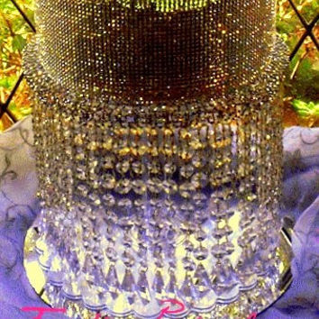 SALE  Wedding Crystal Acrylic  Cake Stand with Crystals/ Chandelier Acrylic beads Cupcake Stand. Dessert stand.