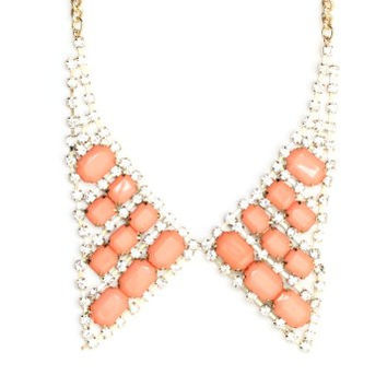 Pointed Collar Necklace Coral Crystal Tuxedo Bow Tie NI38 Luxury Statement Peter Pan Chainmail