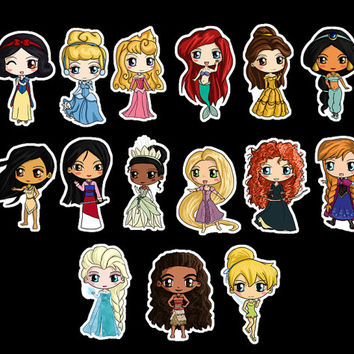 Disney Princess Stickers - Disney Princess Chibi Stickers -- Chibi Snow White, Cindrella, Moana, Ariel, Belle, Rapunzel, Tiana and more!