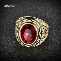 XIAGAO Ring for Man 2 color Red Oval Stone Titanium Stainless Steel Men Ring Fashion Male's Cross Ring for Boy