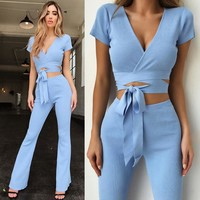 V Neck Bandage Women Sets Blue Long Sleeve Crop Tops + Bodycon Flare Pants Two Piece Sets 2 Piece Sets Womens Outfits