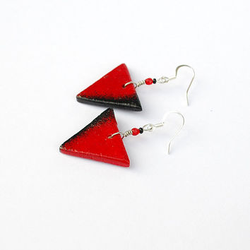 Black and red earrings. Triangular earrings. Geometrical ombre red and black jewelry. Fashionable modern earrings.
