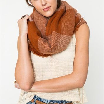 Rust Oversize Plaid Scarf