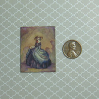 Dollhouse Miniature Lady with Bonnet Art Print Wall Panel
