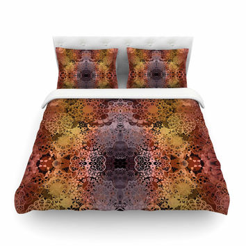 """Pia Schneider """"Floral Fall Pattern"""" Maroon Floral Cotton Duvet Cover"""
