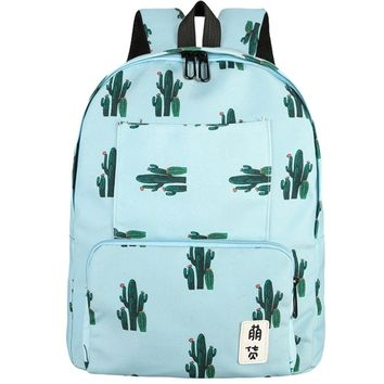 Women Leaves Cactus Printing Backpacks  Female Fashion