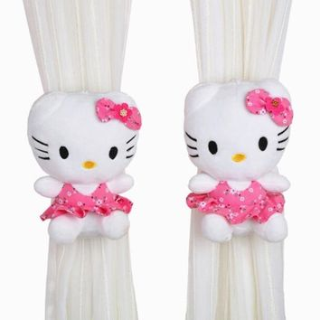 CXZYKING 2PCS/Lot Cute Cartoon Plush Kitty Doll Curtain Clip Creative Hello Kitty Marriage Room Decoration  Children Soft Toy