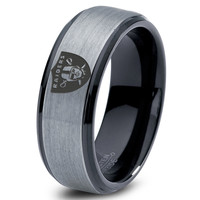 Oakland Raiders Ring Mens Fanatic NFL Sports Football Boys Girls Womens NFL Jewelry Fathers Day Gift Tungsten Carbide 083B