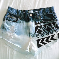 Acid washed ombre native tribal distressed shorts