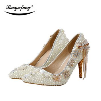 BaoYaFang Champagne crystal ivory pearl wedding shoes Bride 8cm heel pointed toe womens Pumps crystal tassels woman shoes