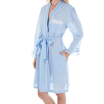 Eileen West E5116048 100% Cotton Robe Blue