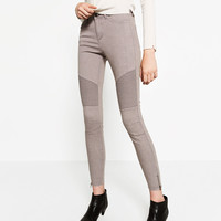 MID - RISE BIKER TROUSERS-View all-JEANS-WOMAN | ZARA United States