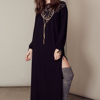 Black Lace-Paneled Long Sleeve High-Slit Backless Maxi Dress