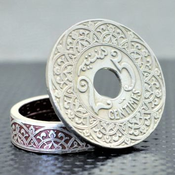 French Moroccan 25 Centimes Coin Ring