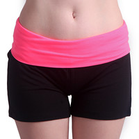 Black and Neon Pink Yoga Shorts