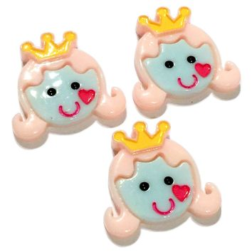 Princess face w/ crown resin cabochon 30x28mm / 1-5 pieces