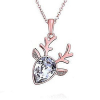 Basket Hill ,18k Rose Gold Plated, Austrian Crystal Reindeer Necklace