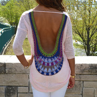 Burma Sunset Pink Knit Crochet Back Top