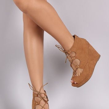 Bamboo Lace Up Peep Toe Wedges