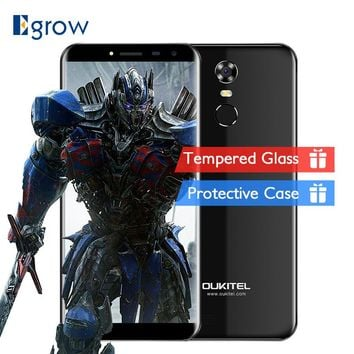 Oukitel C8 Mobile Phone 5.5 Inch 18:9 HD Screen phone Quad Core 2GB RAM 16GB ROM 13MP Android 7.0 3000mAh Touch ID Smartphone