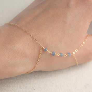 14k Gold Filled Gemstone Hand Chain Slave Bracelet
