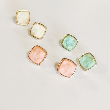Sienna Druzy Set Earrings - Mint