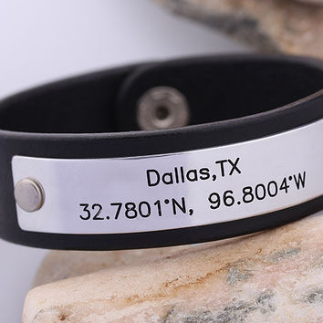 GPS Leather Bracelet - Hand Stamped Leather Cuff - Latitude Longitude Mens Leather Bracelet -  Graduation Idea