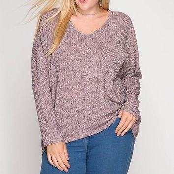 It's All About That Bling Baby Metallic Accent Sweater - Misty Rose