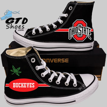 Hand Painted Converse Hi Sneakers. Ohio State Football.Buckeyes. Handpainted shoes.