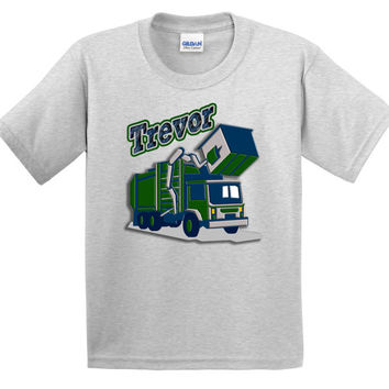 Personalized Boys GARBAGE TRUCK Construction Birthday Party T shirt Lots of Colors - Party Event Infant through Teen