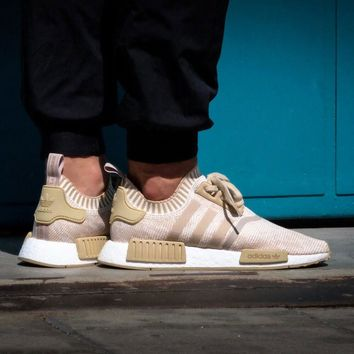 Best Online Sale Adidas NMD R1 PK - Linen Khaki / Off White Boost Sport Running Shoes Classic Casual Shoes Sneakers