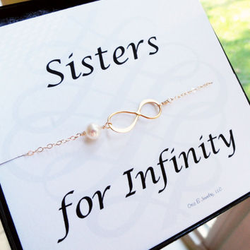 Sisters for infinity card with gold infinity bracelet, pearl bracelet, infinity symbol bracelet, friendship bracelet, sister bracelet