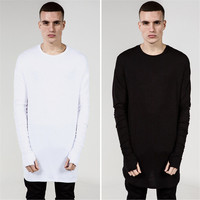 2016 New Thumb Hole Cuffs Long Sleeve Tyga Swag Style Man High Low Side Split Hip Hop Top Tee T Shirt Crew T-shirt Men Clothes