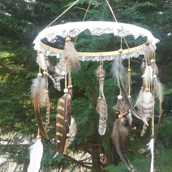 Feather Mobile, Boho mobile, bohemian baby nursery, bohemian mobile, boho baby , native, american, style, whimsical, mobile, woodland mobile