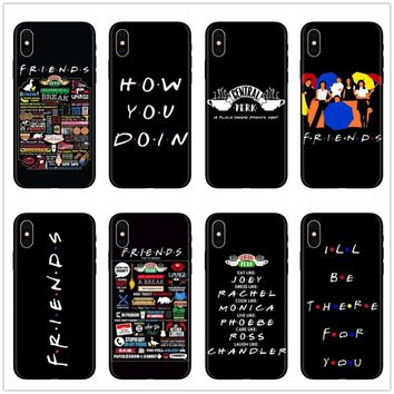 Central Perk Coffee friends tv show how you doin Black silicone Phone Case Cover For iPhone 7 8 6 6S Plus X XS MAX XR 5s SE Case