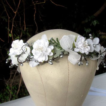 Bridal headpiece, white wedding headband, winter woods bride, silver hair accessories, silver white headwreath, flower crown, hair vine